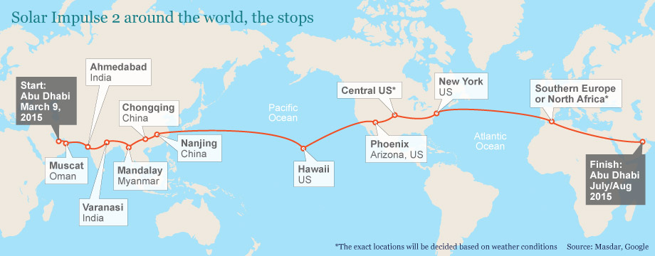 Flight Route for Solar Impulse 2