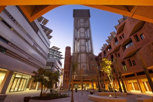 Center Courtyard and the Windtower at the Masdar Institute Campus, Masdar City. CC via Flick.